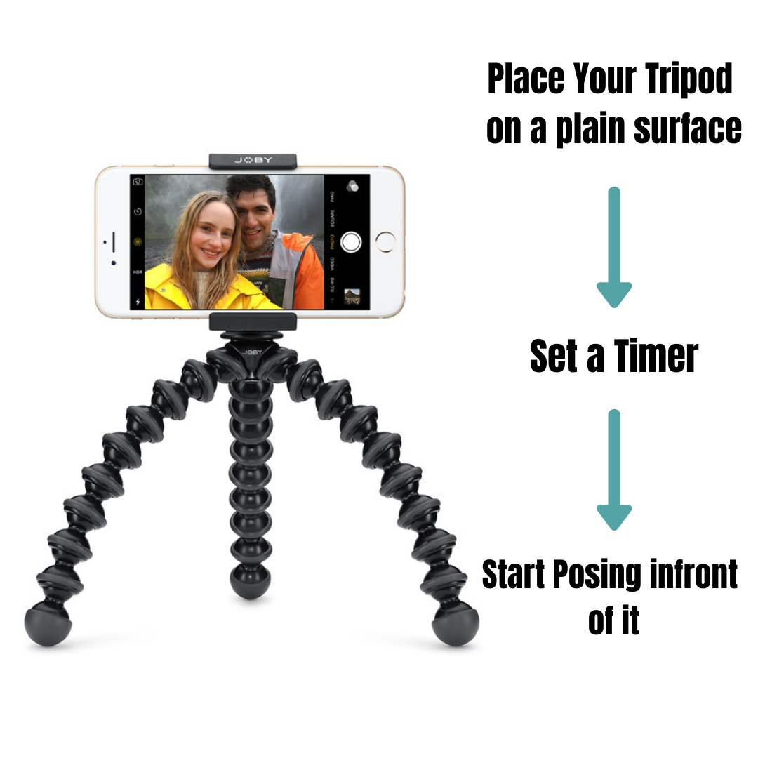 clicking selfie with tripod