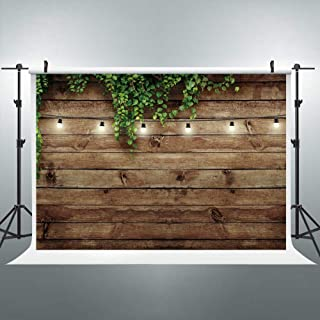 Riyidecor Vintage wooden board backdrop with green leaves